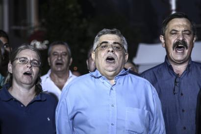 Pre-election speech by the General Secretary  of Golden Dawn party, Nikos Michaloliakos in Piraeus, on September 11, 2015 / Προεκλογική ομιλία του Γενίκου Γραμματέα της Χρυσής Αυγής , Νίκου Μιχαλολιάκου στον Πειραιά, στις 11 Σεπτεμβρίου, 2015 ΦΩΤΟ: NIKOS LIBERTAS-SOOC