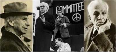 Μπέρτραντ Ράσελ – Κώστας Βάρναλης. Στο κέντρο: Ο Μπ. Ράσελ ομιλητής σε διαδήλωση κατά των πυρηνικών όπλων στο Λονδίνο