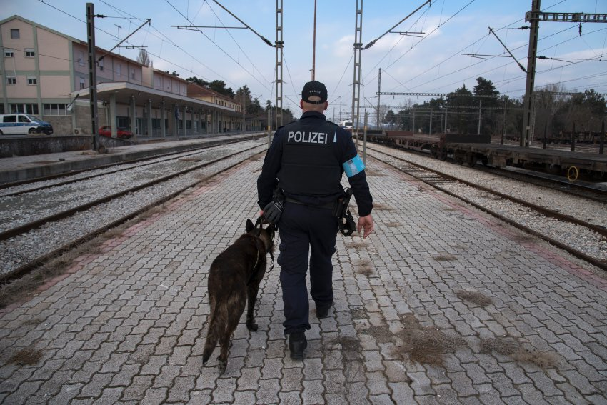 """Polizeioberkomissar Volke Juehlke, 45, is a dog handler. He saysâ¨Jim, a 9 year old Hollandse Herdershond, is the best partner he couldâ¨ever have. """"When all hell breaks loose, he will be there, unflinching.â¨He would give his life for me""""."""